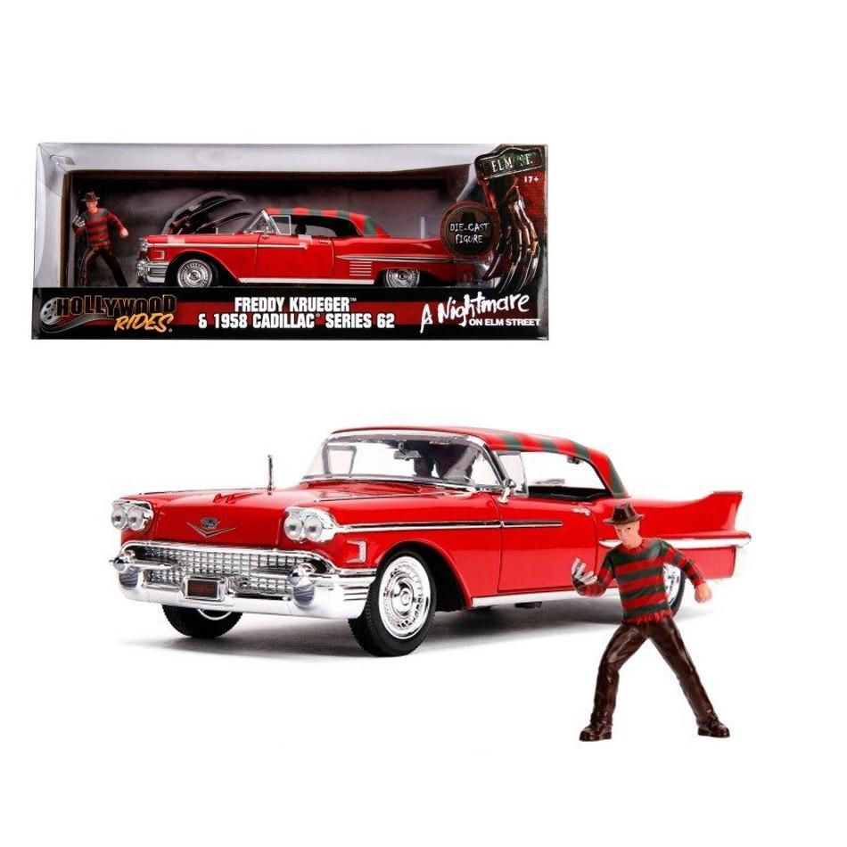 ماکت فلزی جادا فردی کروگر و ماشین کادیلاک قرمز