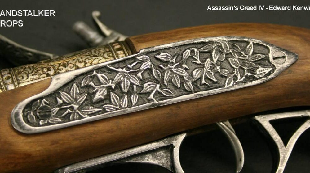 Medioevo Assassin'S Creed Iv 4 Black Flag Edward Kenway'S Pistol Gun With Decorated Barrel Collectibles Replica (11)