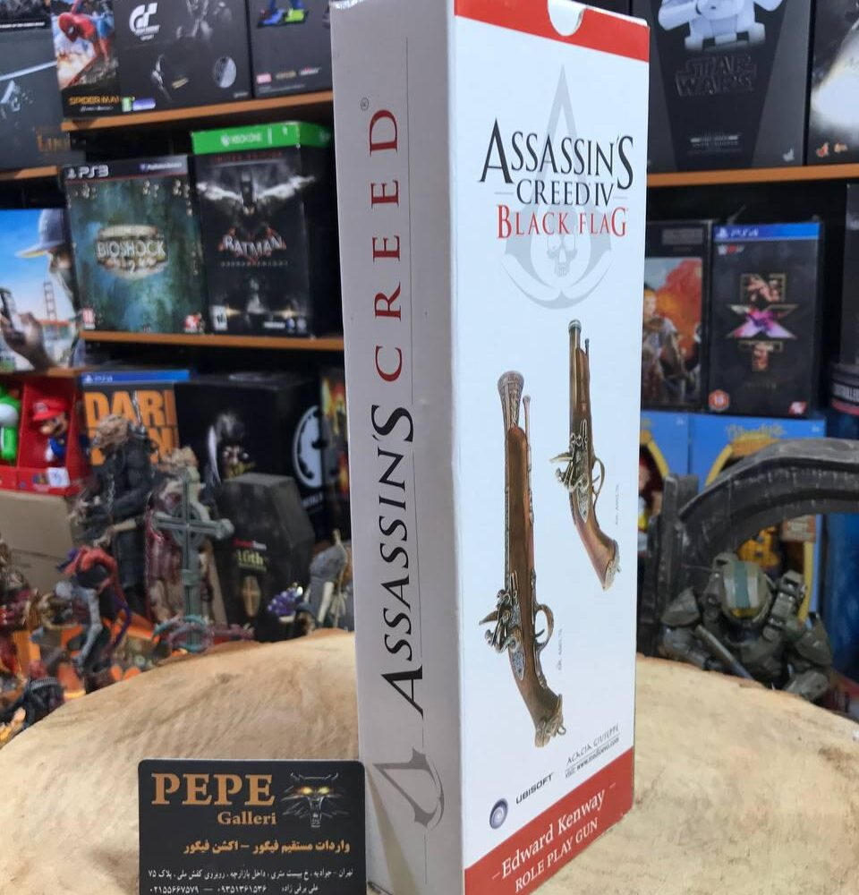 Medioevo Assassin'S Creed Iv 4 Black Flag Edward Kenway'S Pistol Gun With Decorated Barrel Collectibles Replica (12)