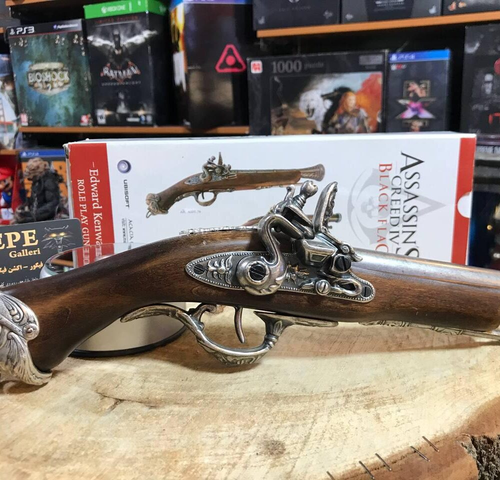Medioevo Assassin'S Creed Iv 4 Black Flag Edward Kenway'S Pistol Gun With Decorated Barrel Collectibles Replica (14)