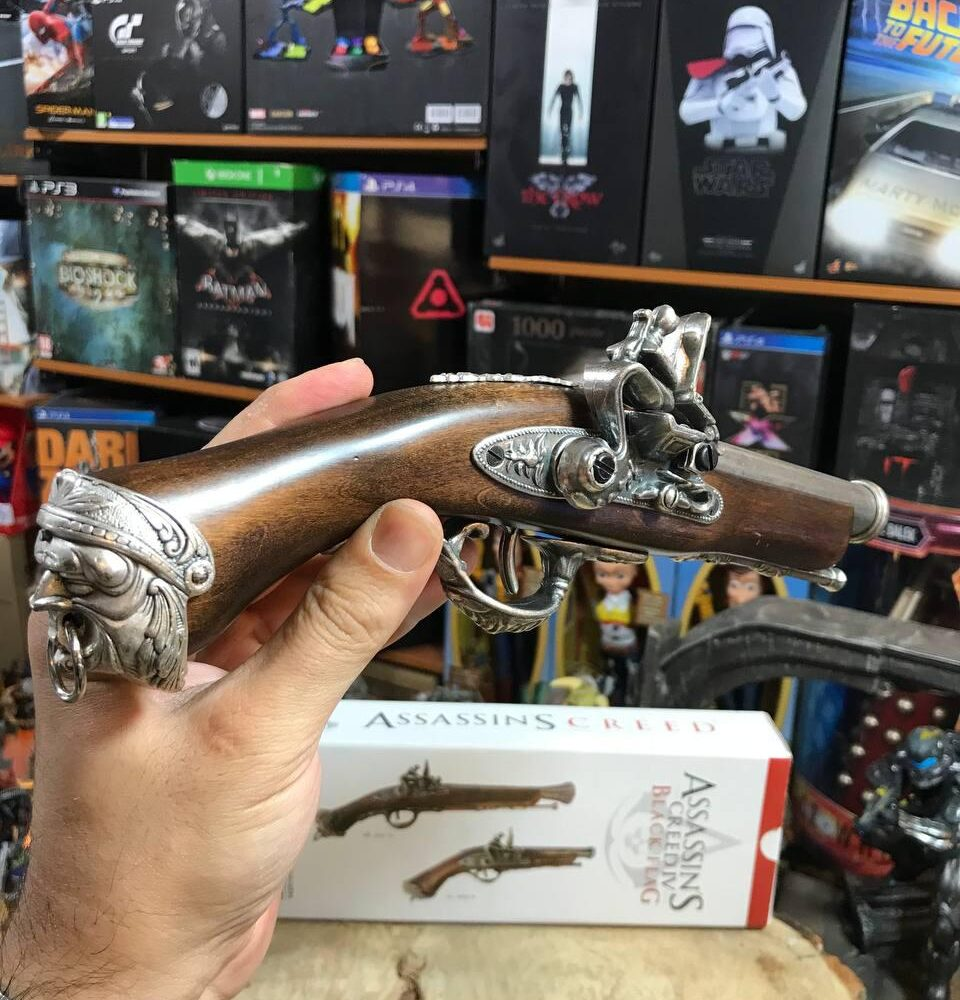 Medioevo Assassin'S Creed Iv 4 Black Flag Edward Kenway'S Pistol Gun With Decorated Barrel Collectibles Replica (15)