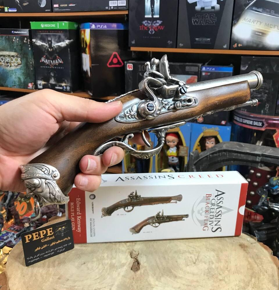 Medioevo Assassin'S Creed Iv 4 Black Flag Edward Kenway'S Pistol Gun With Decorated Barrel Collectibles Replica (20)