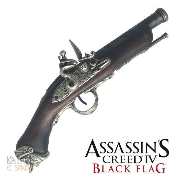 Medioevo Assassin'S Creed Iv 4 Black Flag Edward Kenway'S Pistol Gun With Decorated Barrel Collectibles Replica
