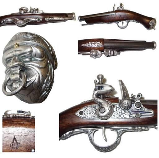 Medioevo Assassin'S Creed Iv 4 Black Flag Edward Kenway'S Pistol Gun With Decorated Barrel Collectibles Replica (4)